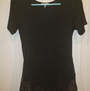 BKE black top with lace detail